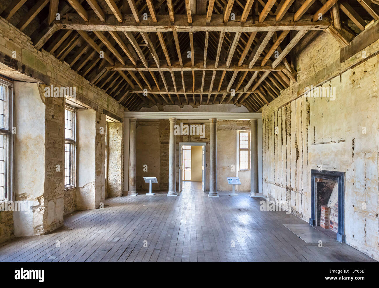 Columned Room or Great Chamber, undergoing renovation in Kirby Hall, a 16thC Elizabethan country house nr Gretton, - Stock Image