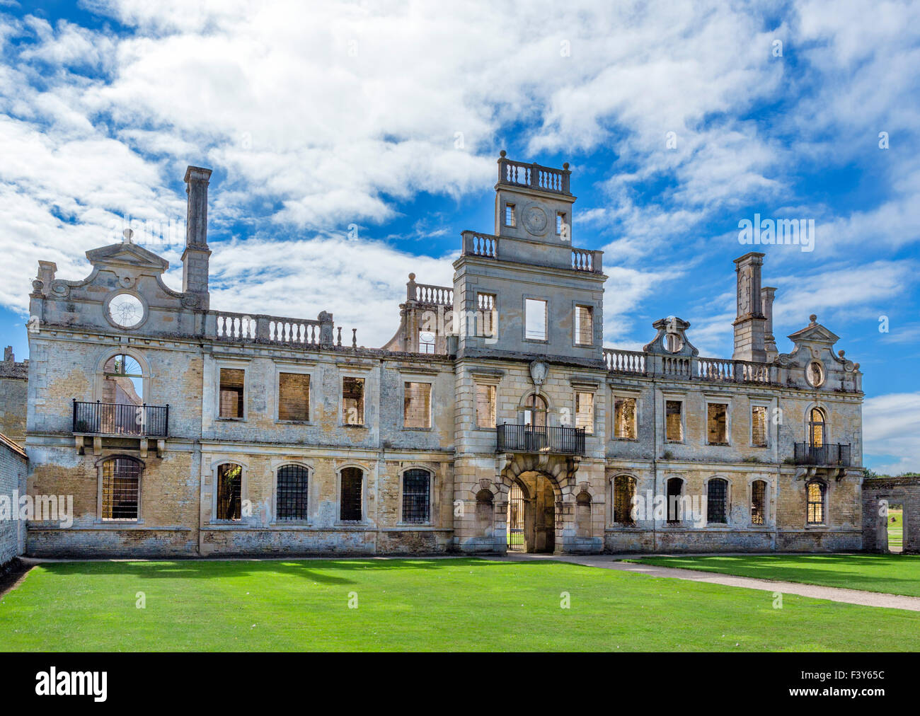 Entrance and north front from the forecourt in Kirby Hall, a ruined 16thC Elizabethan country house nr Gretton, - Stock Image