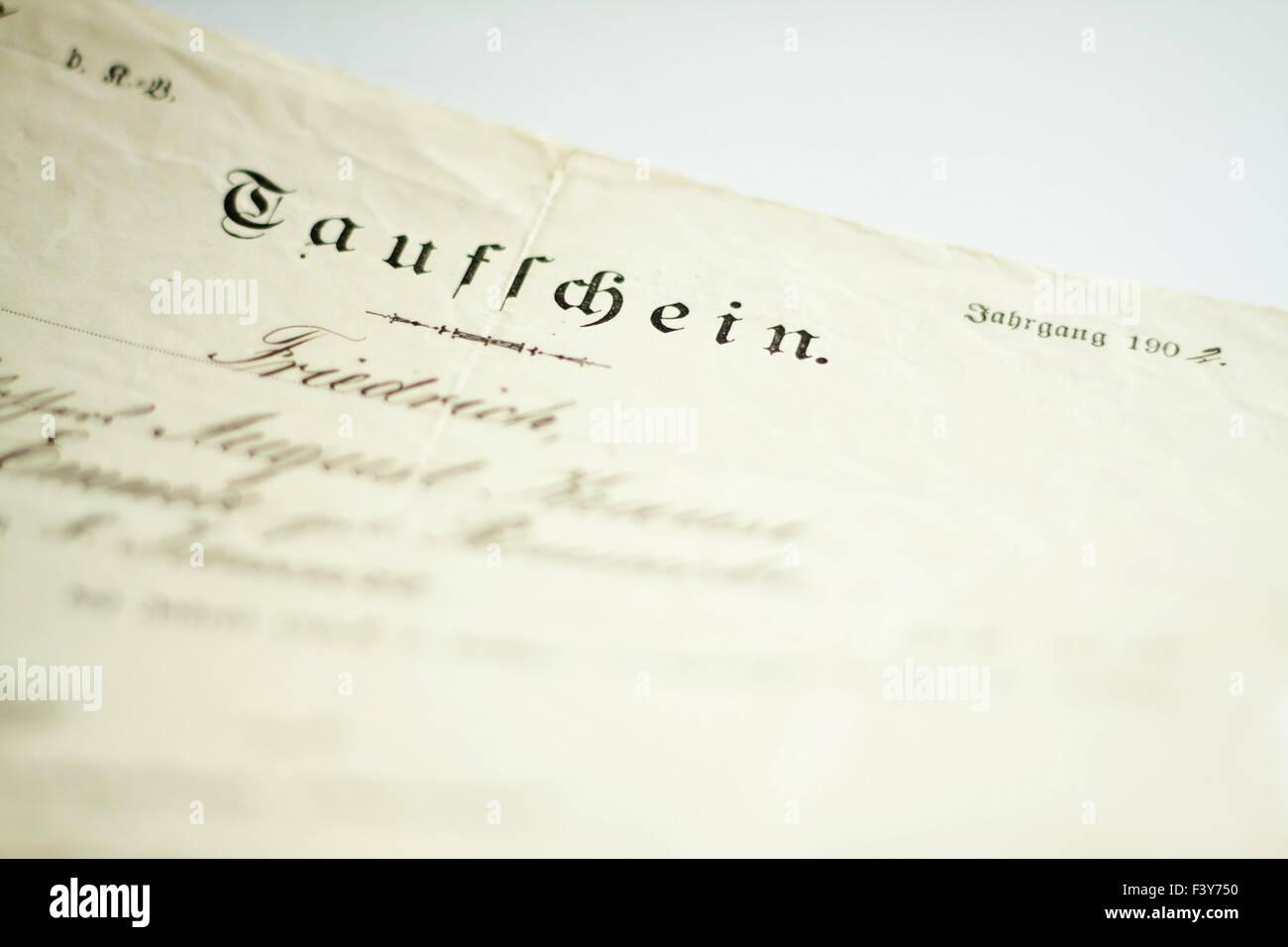 baptism certificate - Stock Image