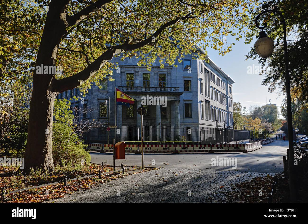 Spanish Embassy, Grosser Tiergarten in Berlin - Stock Image