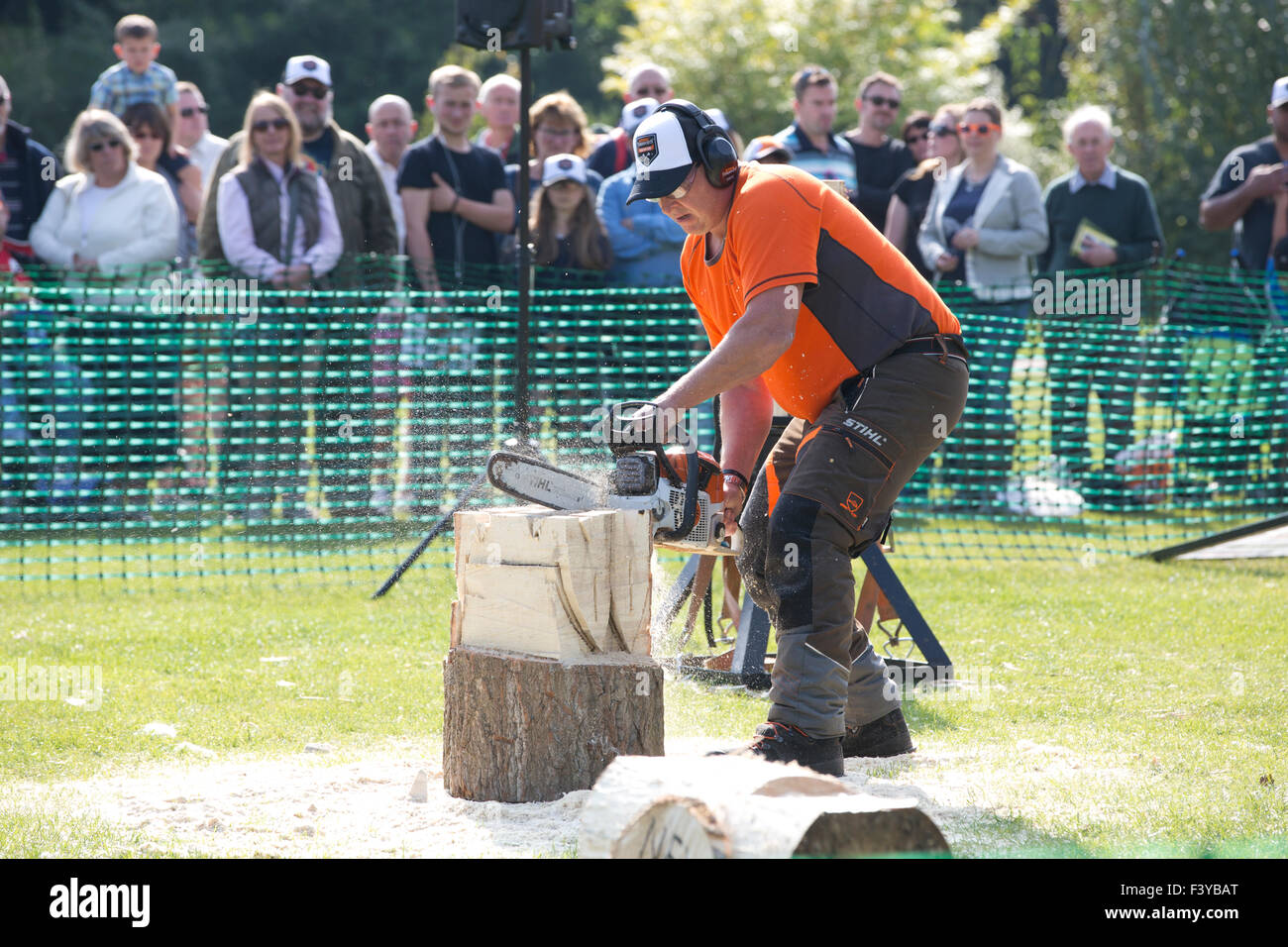 British lumberjacks show of their skills with STIHL German manufacturer of chainsaws exhibition at RHS Wisley, Surrey, Stock Photo