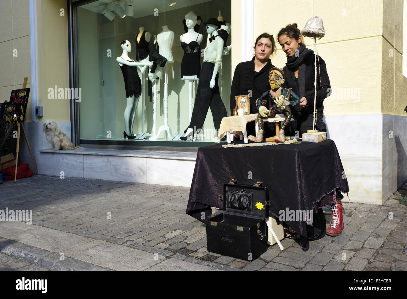 Puppeteer, Athens, Greece, Europe - Stock Image