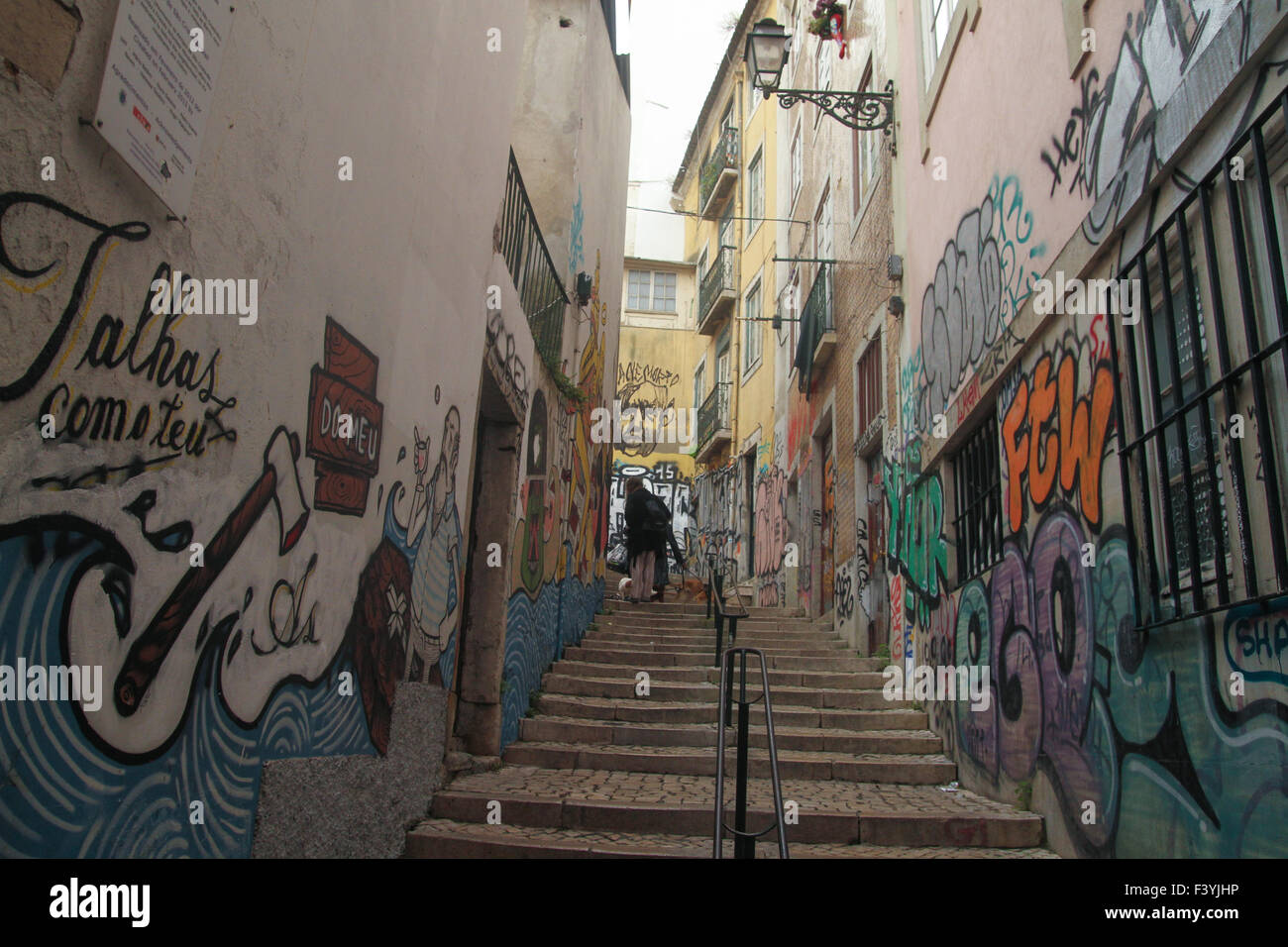 ​Lisbon, Portugal, 4 October, 2015. Murals/ graffiti on the was of the Largo São Cristóvão  midway - Stock Image