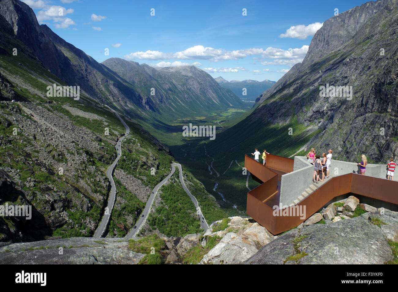 Viewing platforn at Trollstigen - Stock Image