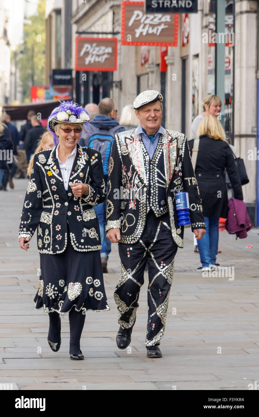Pearly King and Queen, London England United Kingdom UK Stock Photo