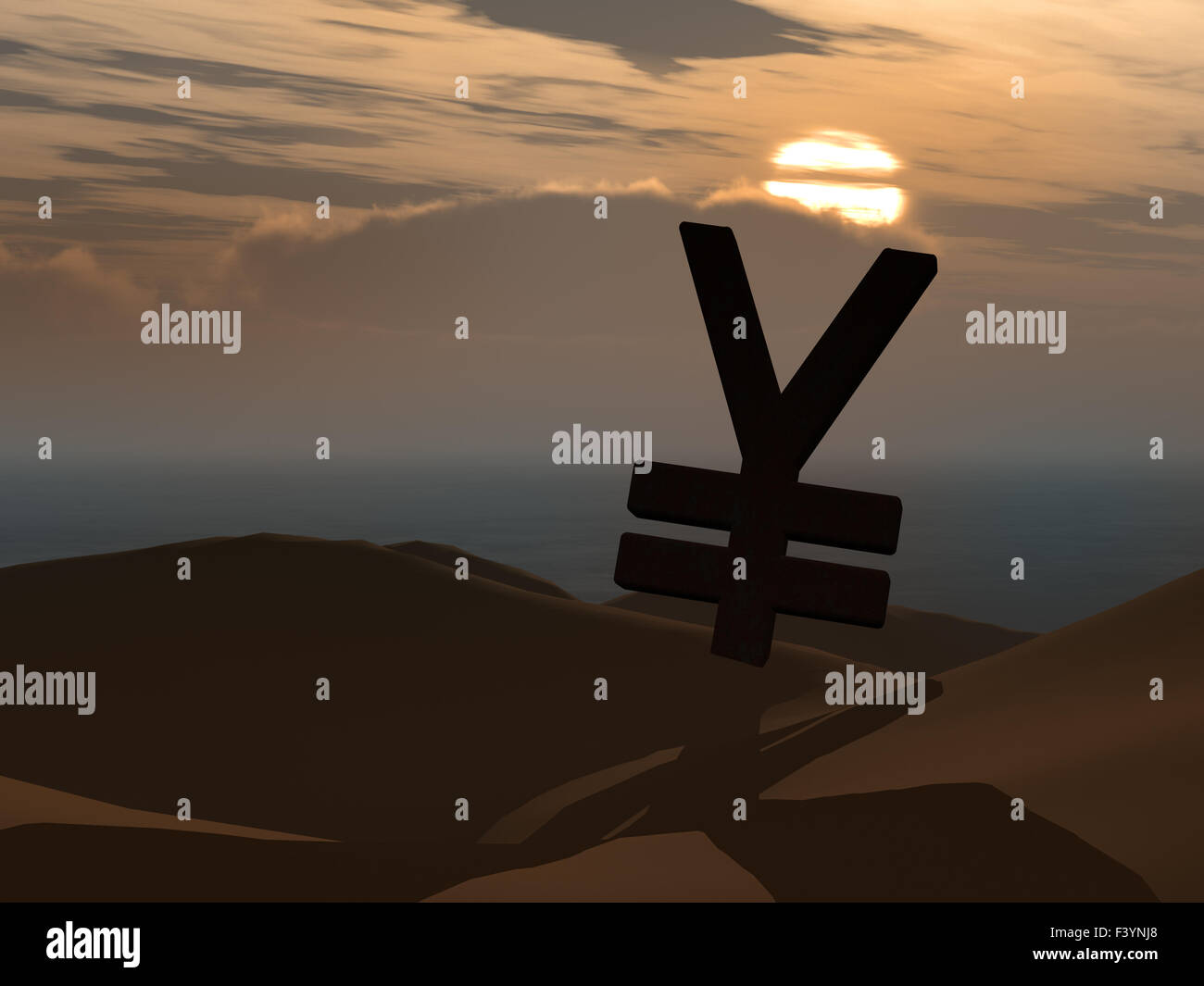 Yen currency symbol and sunset - Stock Image