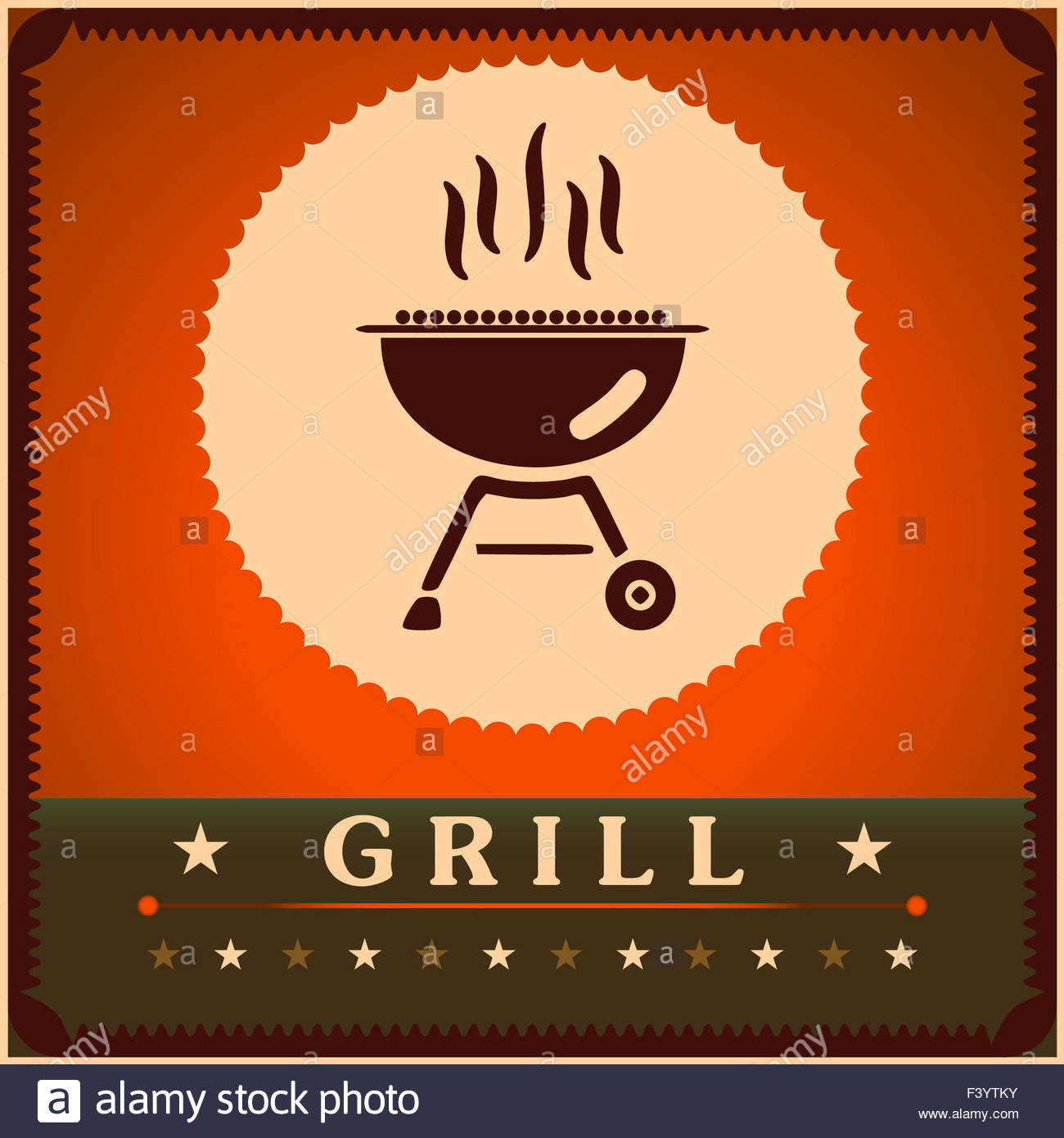 retro grill menu card design template poster stock photo 88507887