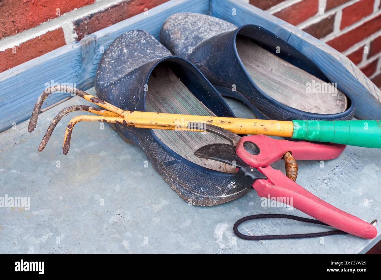 stilllife consisting of small gardening tools Stock Photo