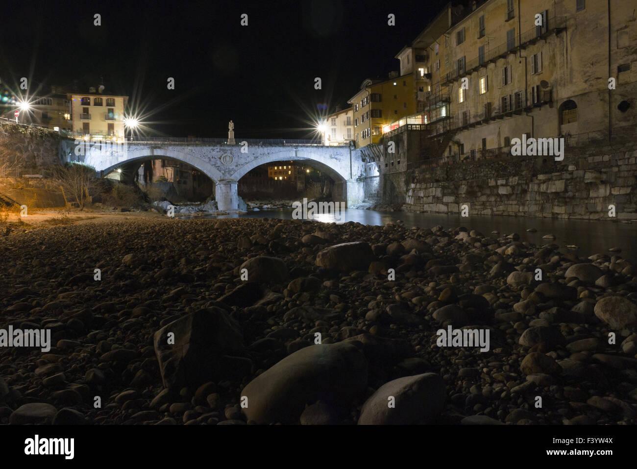 The river Sesia, night, Varallo Stock Photo
