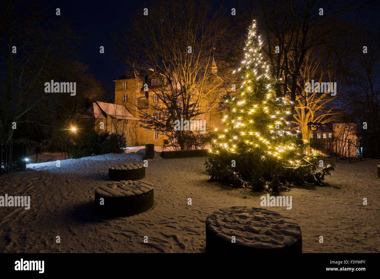 The Upper Castle in Siegen, christmas tree - Stock Image