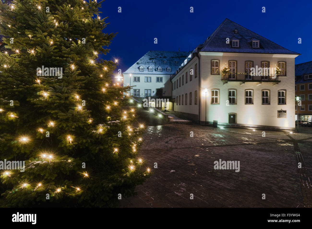 City Hall City of Siegen at Christmas time - Stock Image