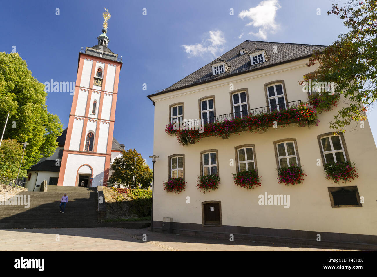 City Hall, Nikolai Church, Siegen, Germany - Stock Image
