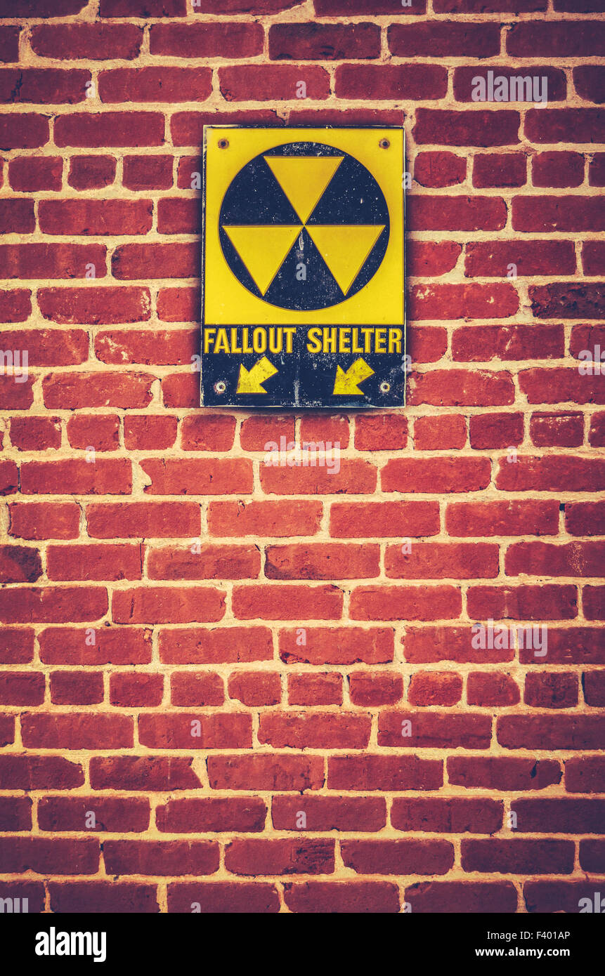 Nuclear Fallout Shelter Sign Stock Photo