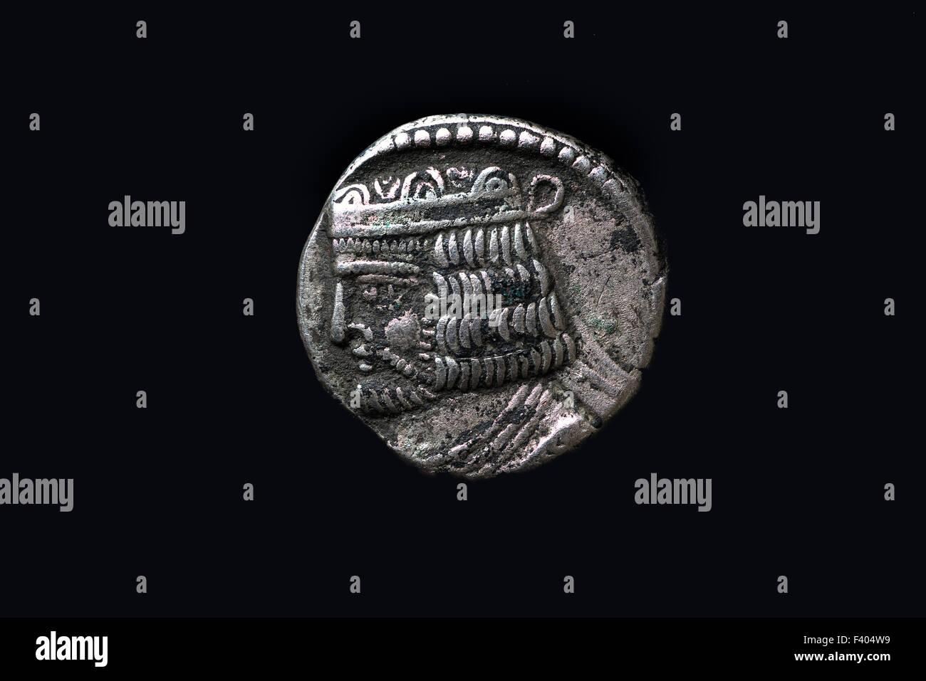 Antique silver coin, Parthian Empire - Stock Image