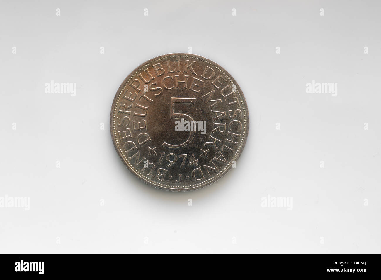 5 Mark, five DM, silver coin - Stock Image