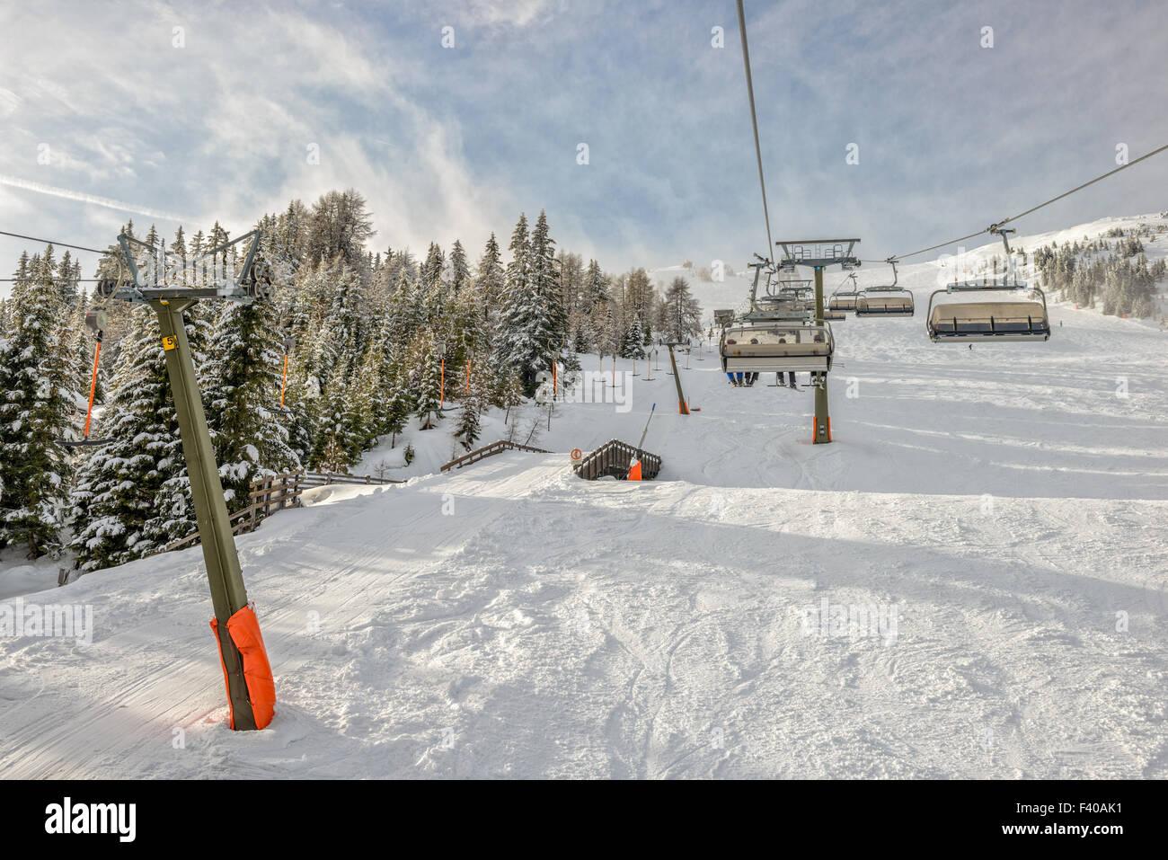Chairlift at ski resort Stock Photo