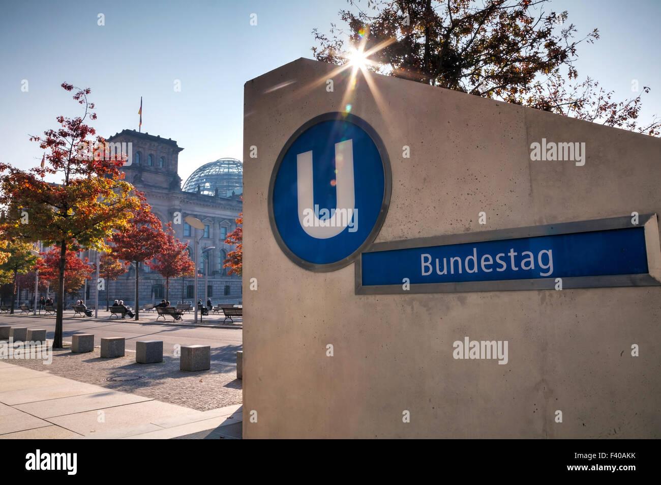 Bundestag underground sign in Berlin - Stock Image