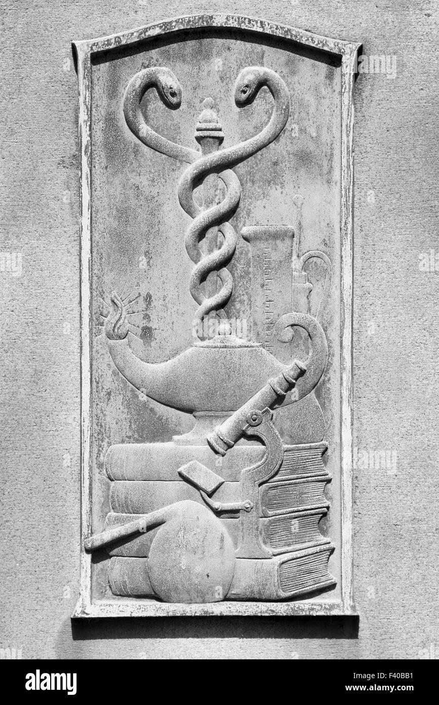 Medicine, Books, Microscope, Chemistry on Cemetery Gravestone - Stock Image