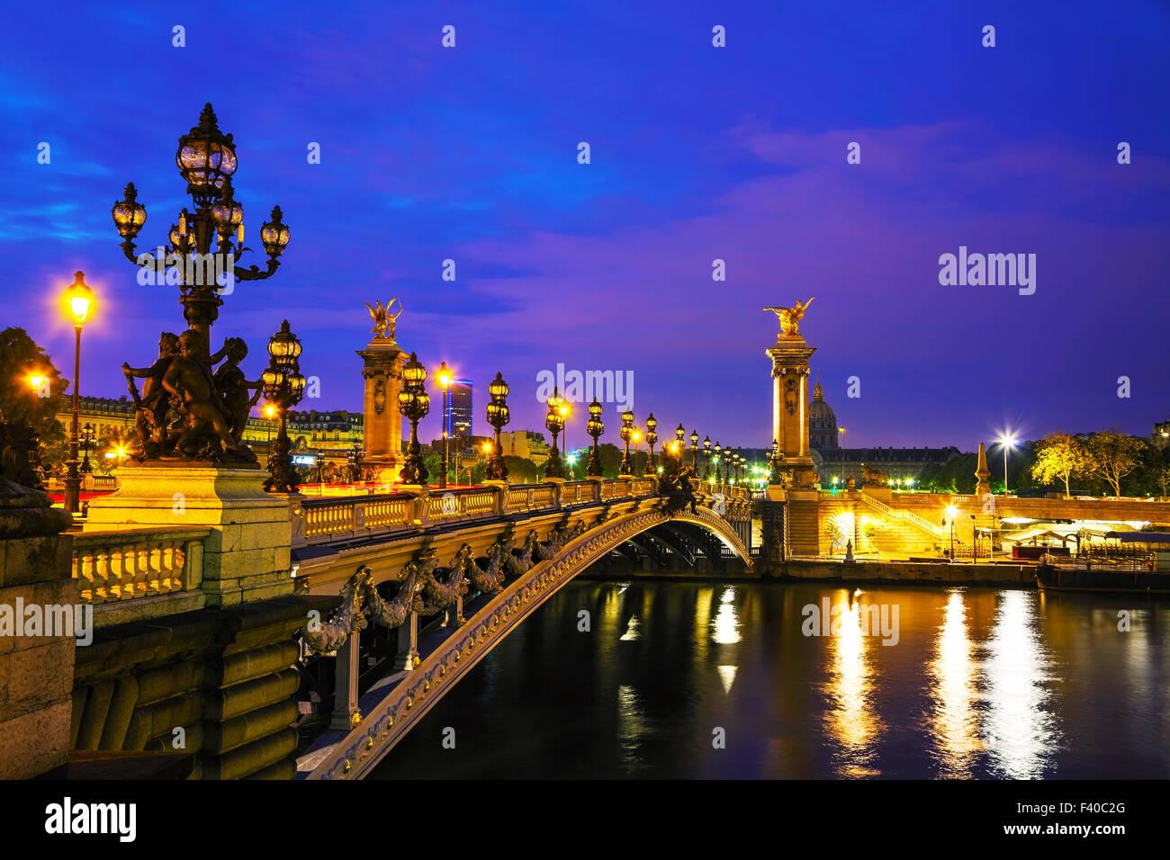 Aleksander III bridge in Paris - Stock Image