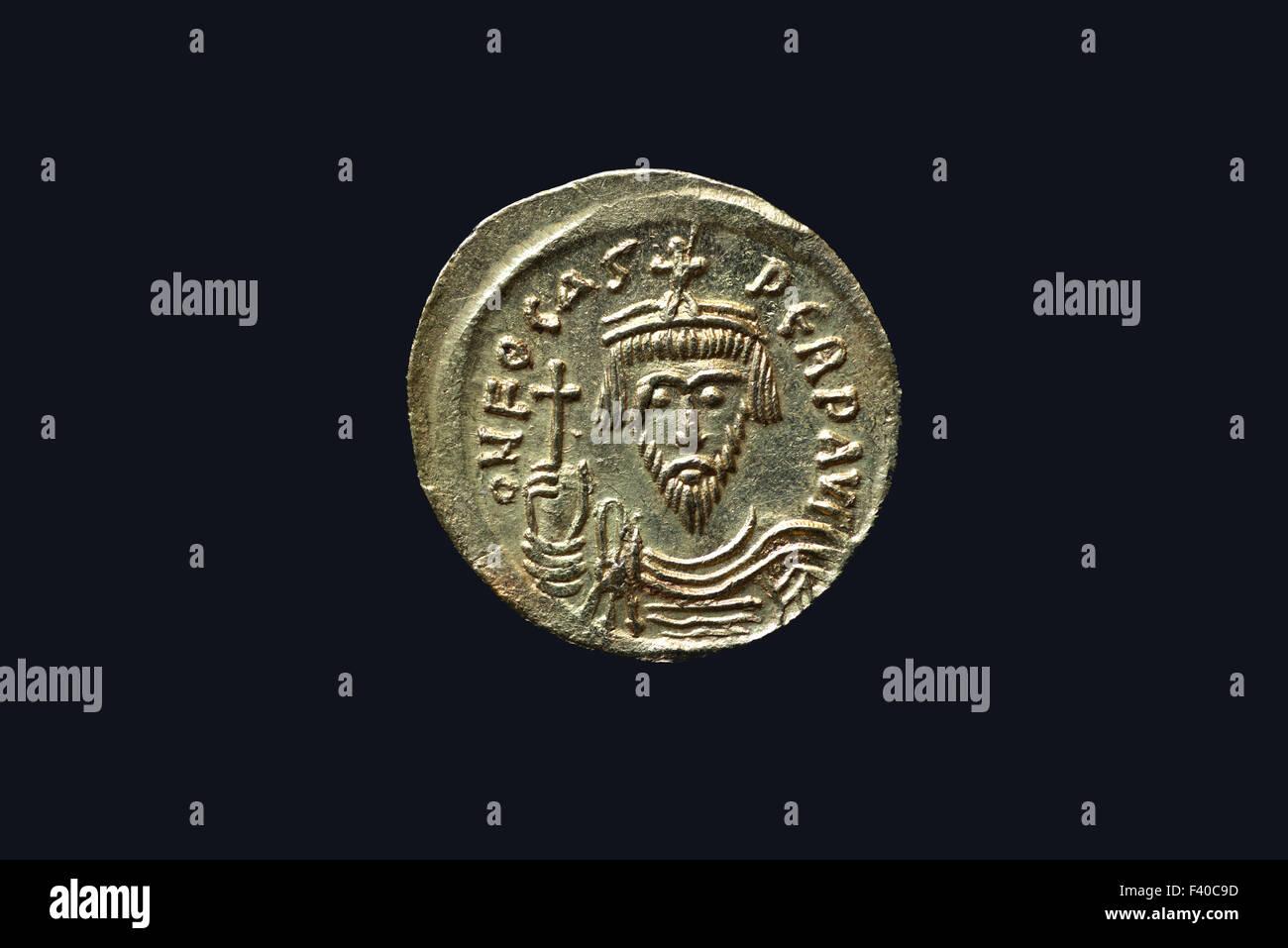 Byzantine Gold Coin, Emperor Phocas - Stock Image
