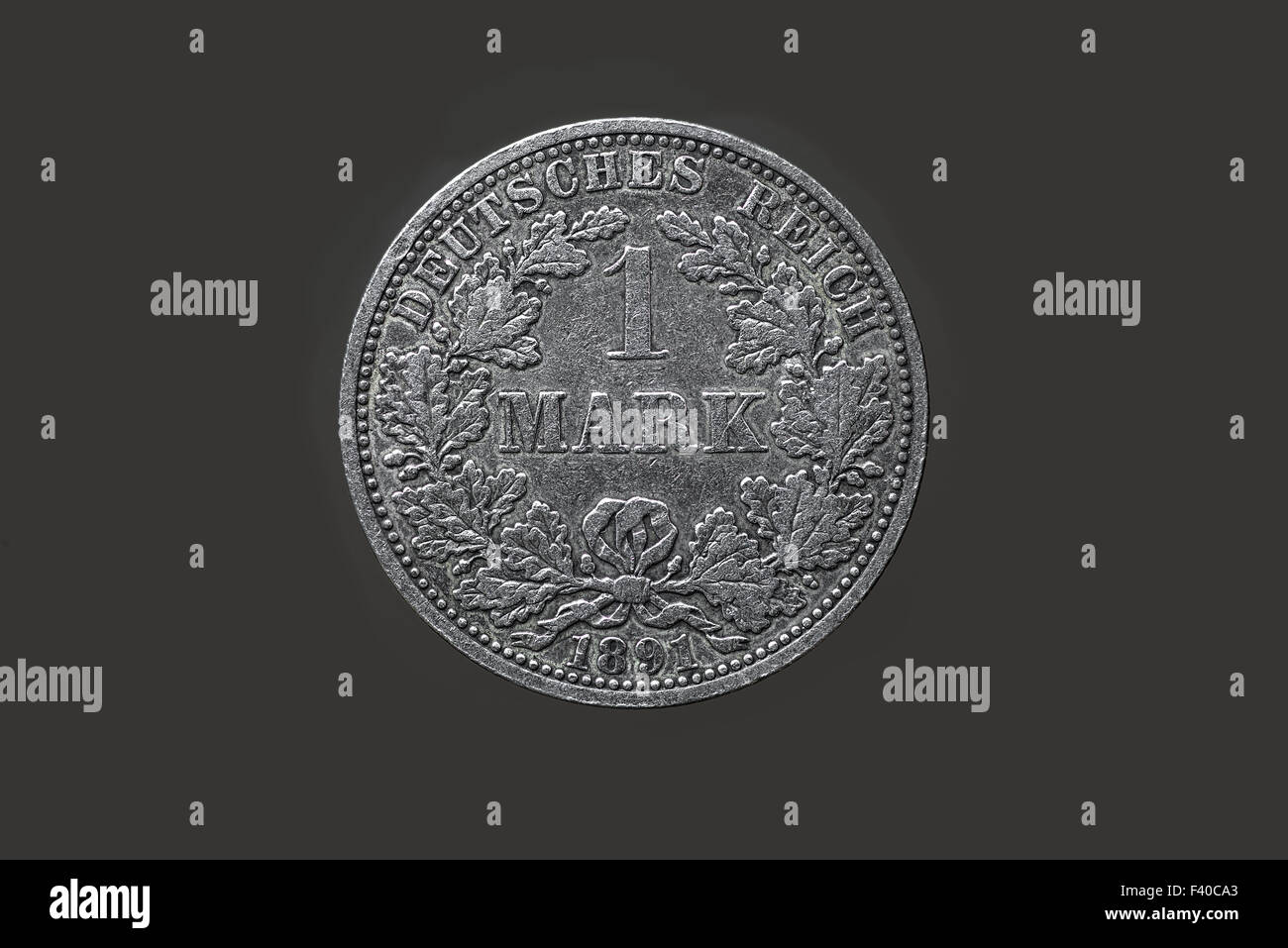 Silver coin, 1 Mark, Imperial Germany - Stock Image
