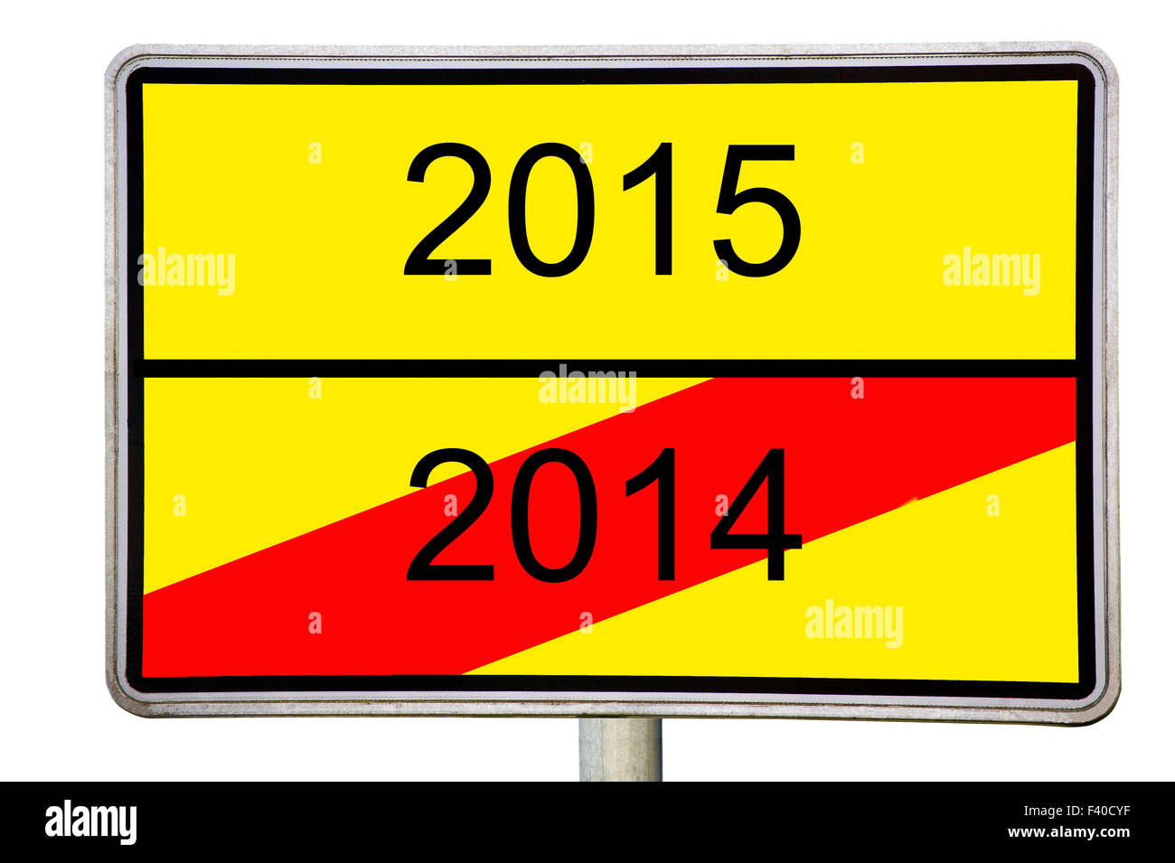 Road sign 2014 2015 - Stock Image