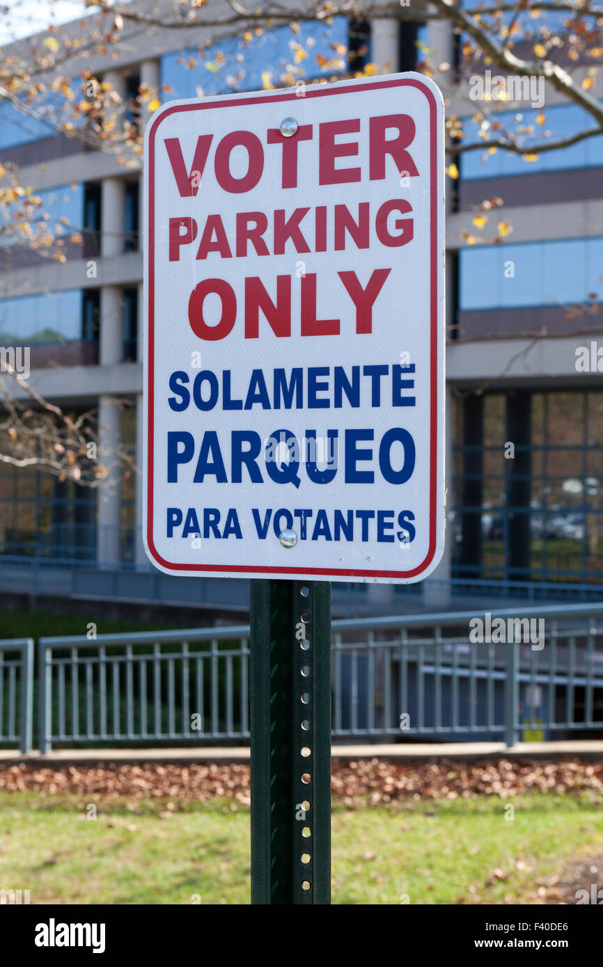 Voter Parking Only sign - USA - Stock Image