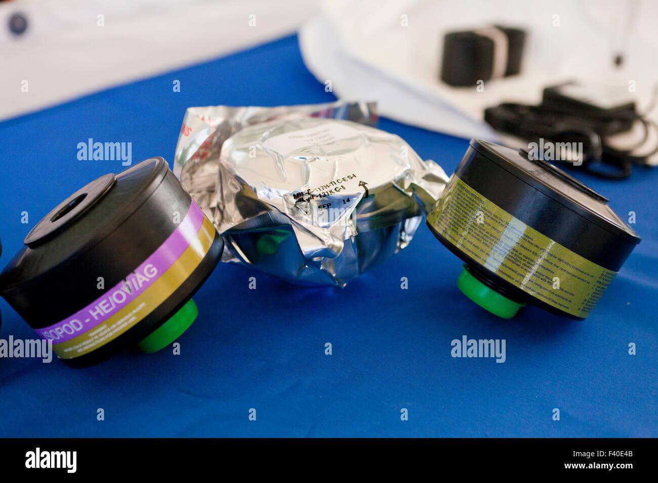 HAZMAT breathing apparatus filters - USA - Stock Image