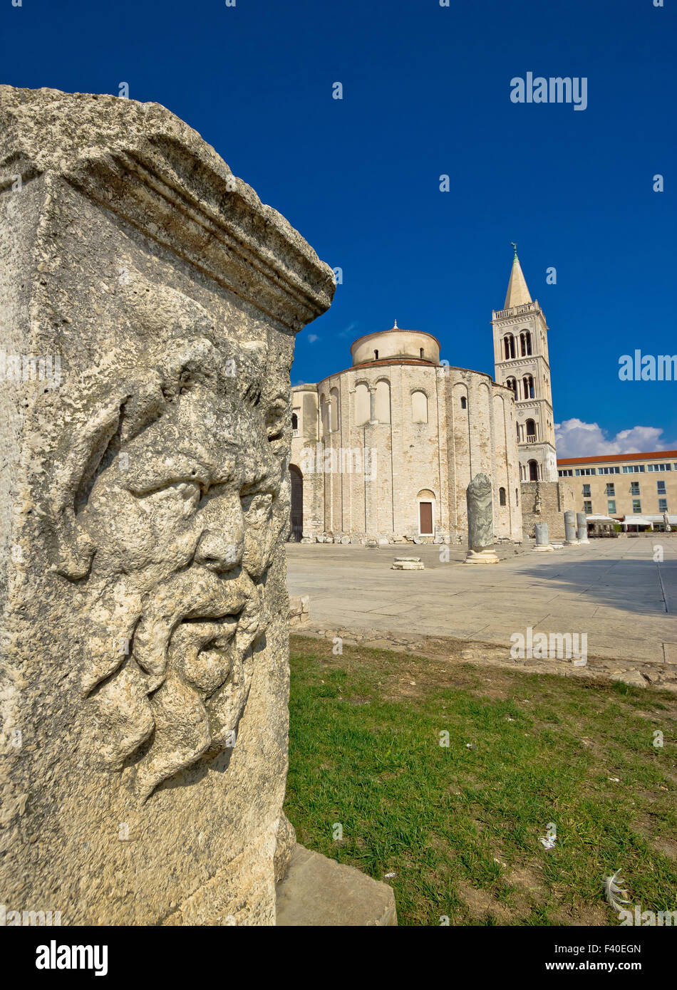 Zadar old roman square artefacts - Stock Image