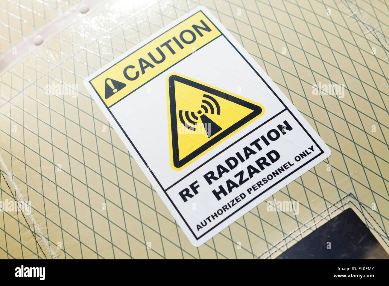 RF radiation hazard warning label - USA - Stock Image