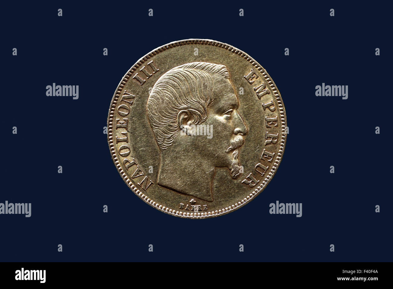 French Gold Coin Napoleon III - Stock Image