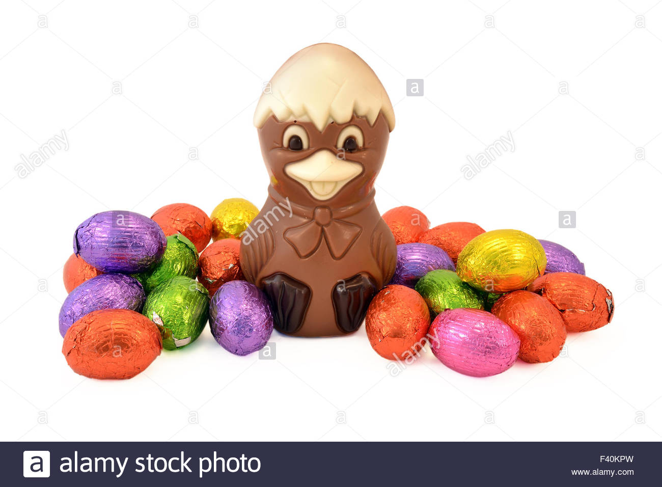 Easter chick with Easter eggs. - Stock Image