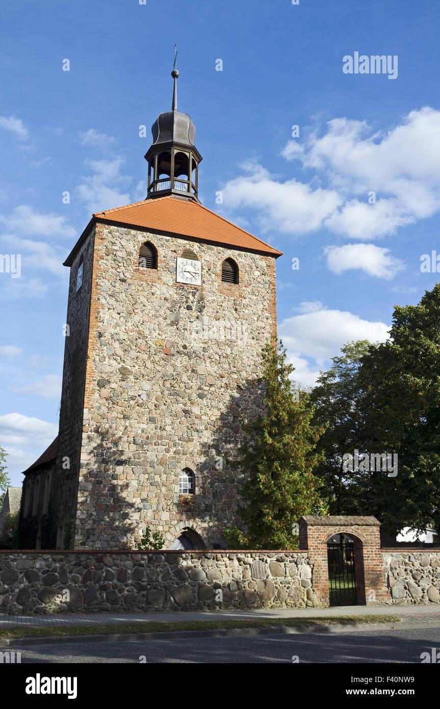Fieldstone church, Gross Machnow, Germany - Stock Image