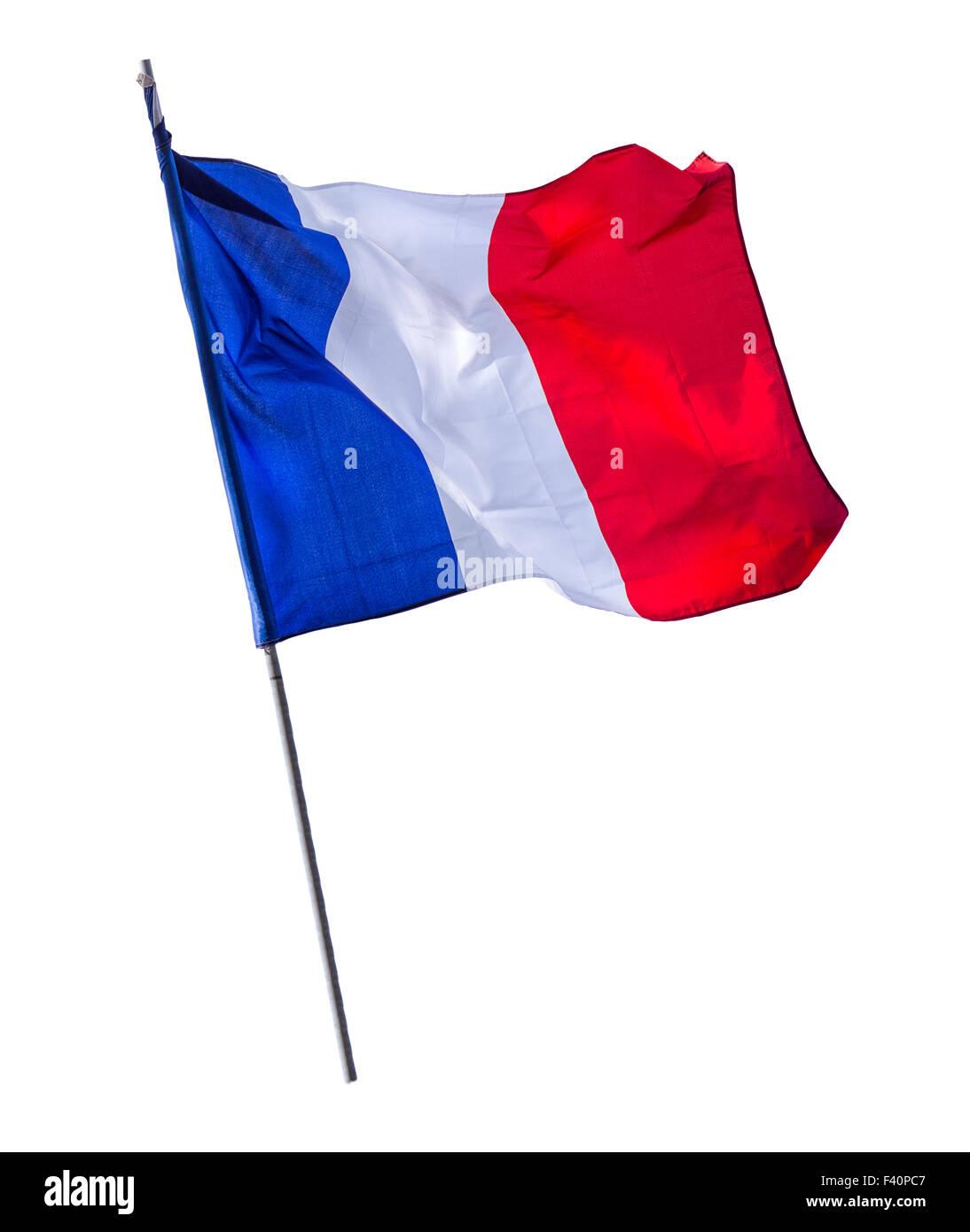 Isolated French Flagpole - Stock Image