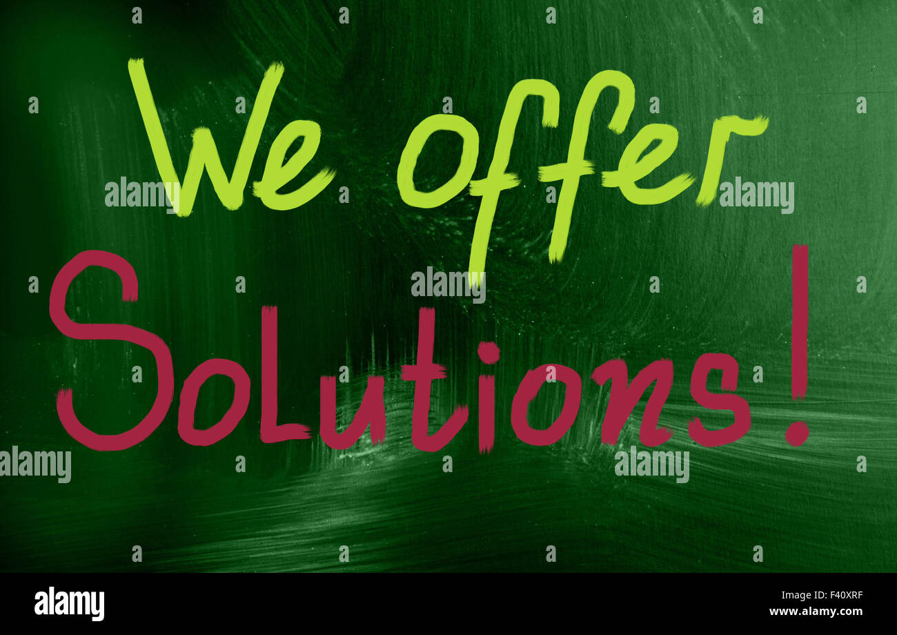 we offer solutions concept - Stock Image
