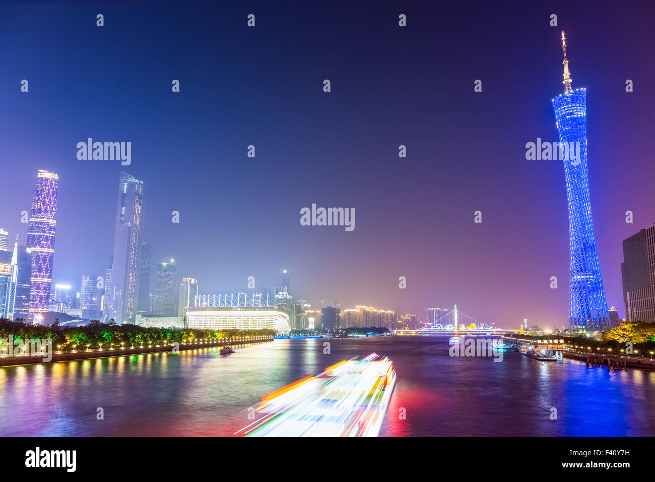beautiful guangzhou pearl river at night - Stock Image