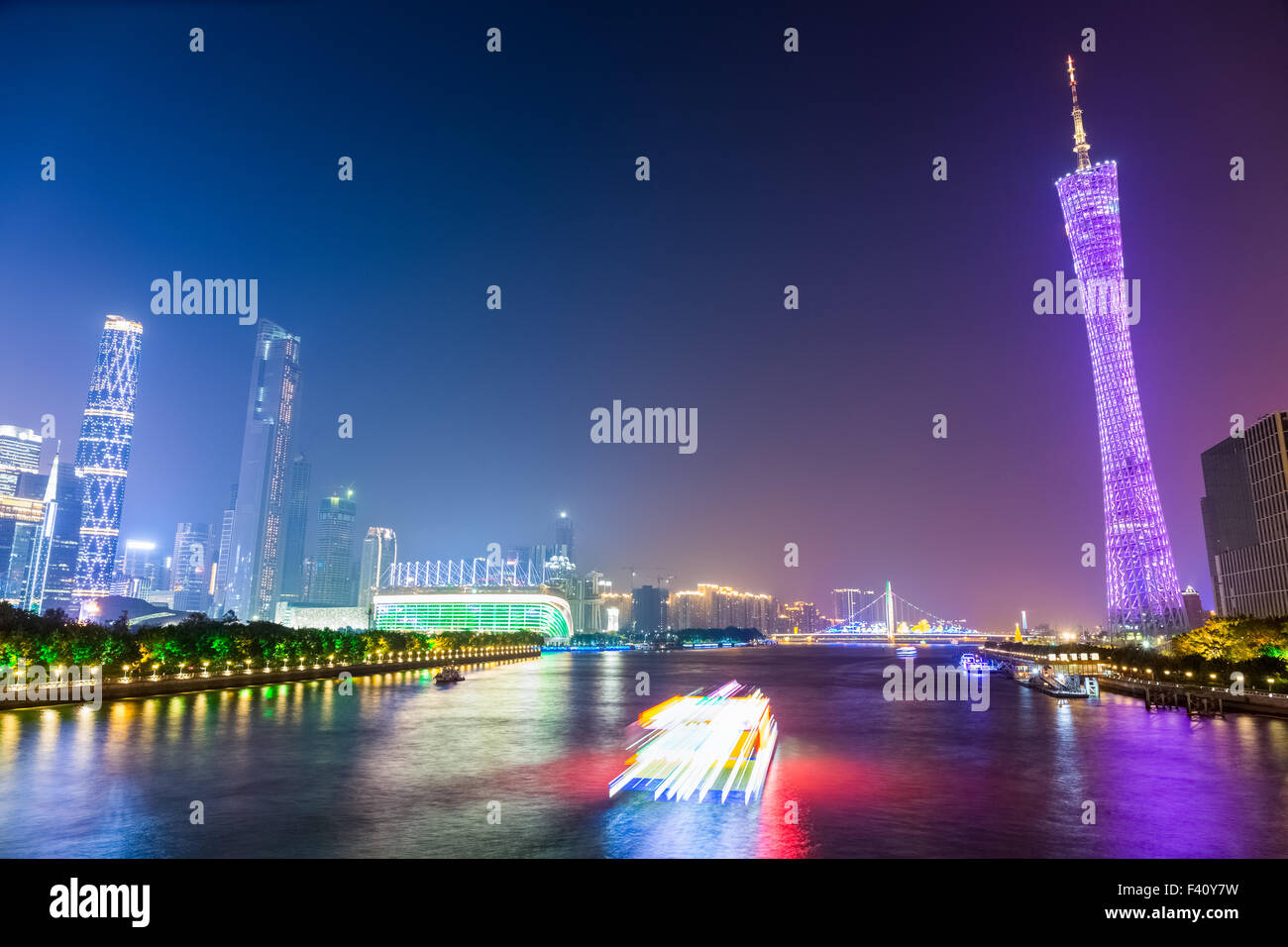 night view of pearl river in guangzhou - Stock Image