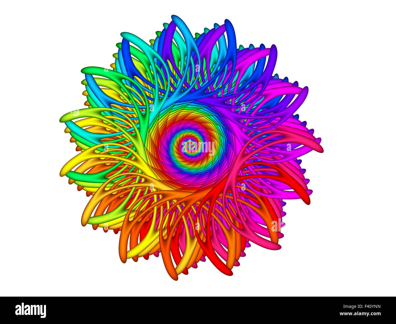 Beautiful rainbow Psychedelic Spiral Spirograph Motif Design Element - Stock Image