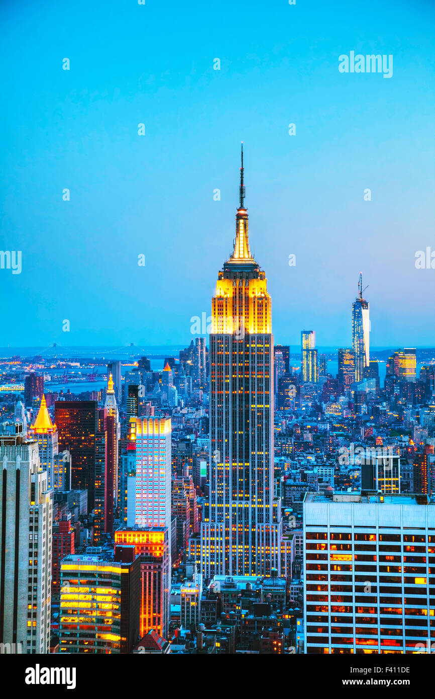 New York City cityscape in the night - Stock Image