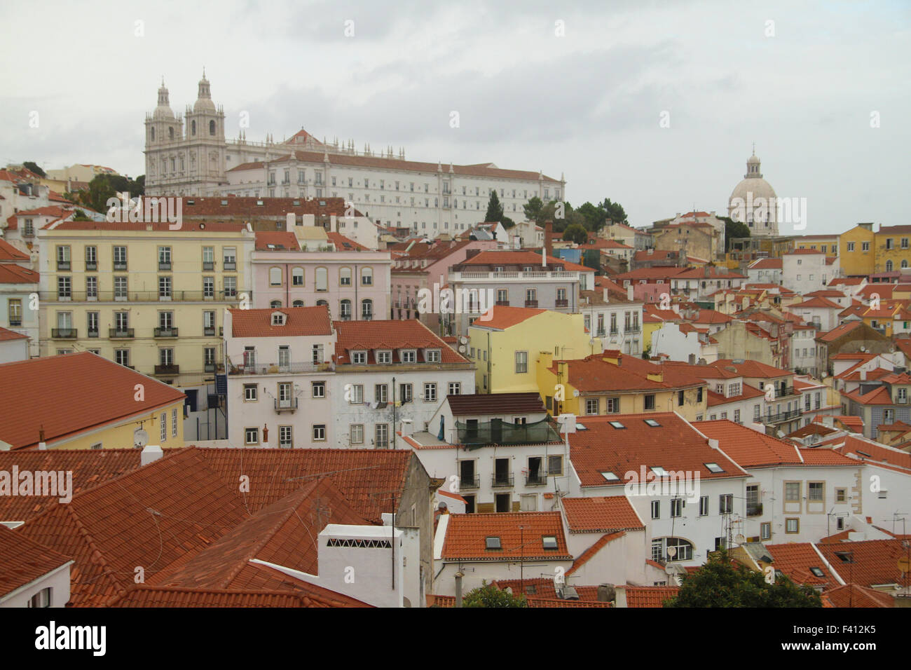 ​Lisbon, Portugal - 4 October, 2015. View of the Alfama district with Church of São Vicente of Fora seen on - Stock Image