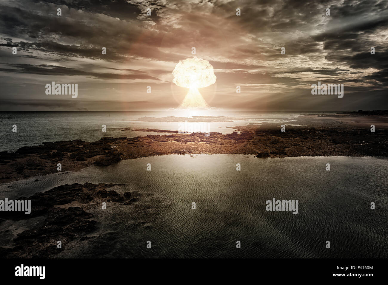 nuclear bomb explosion - Stock Image