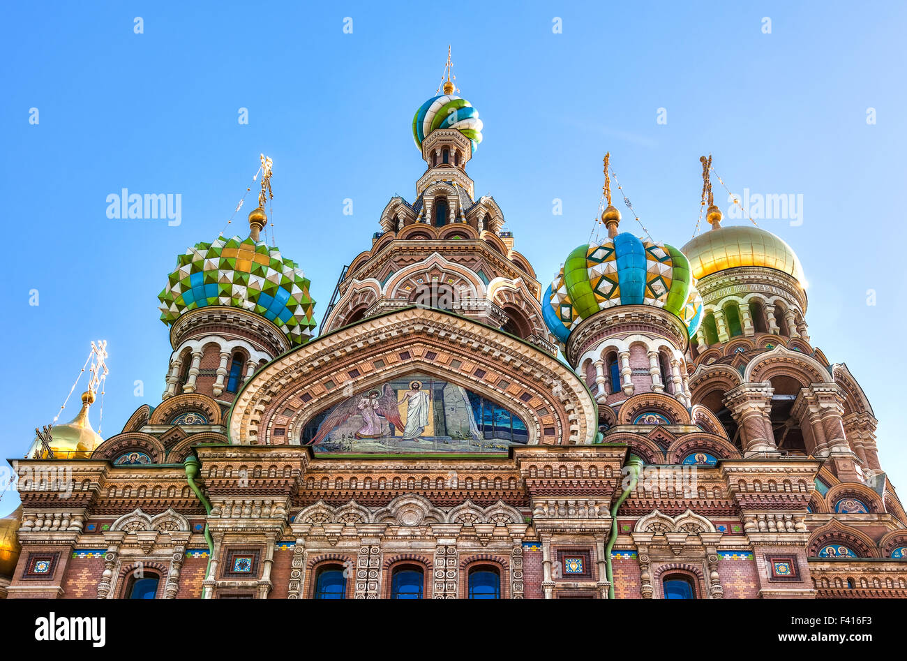 Domes of Church of the Savior on Spilled Blood in St. Petersburg, Russia - Stock Image
