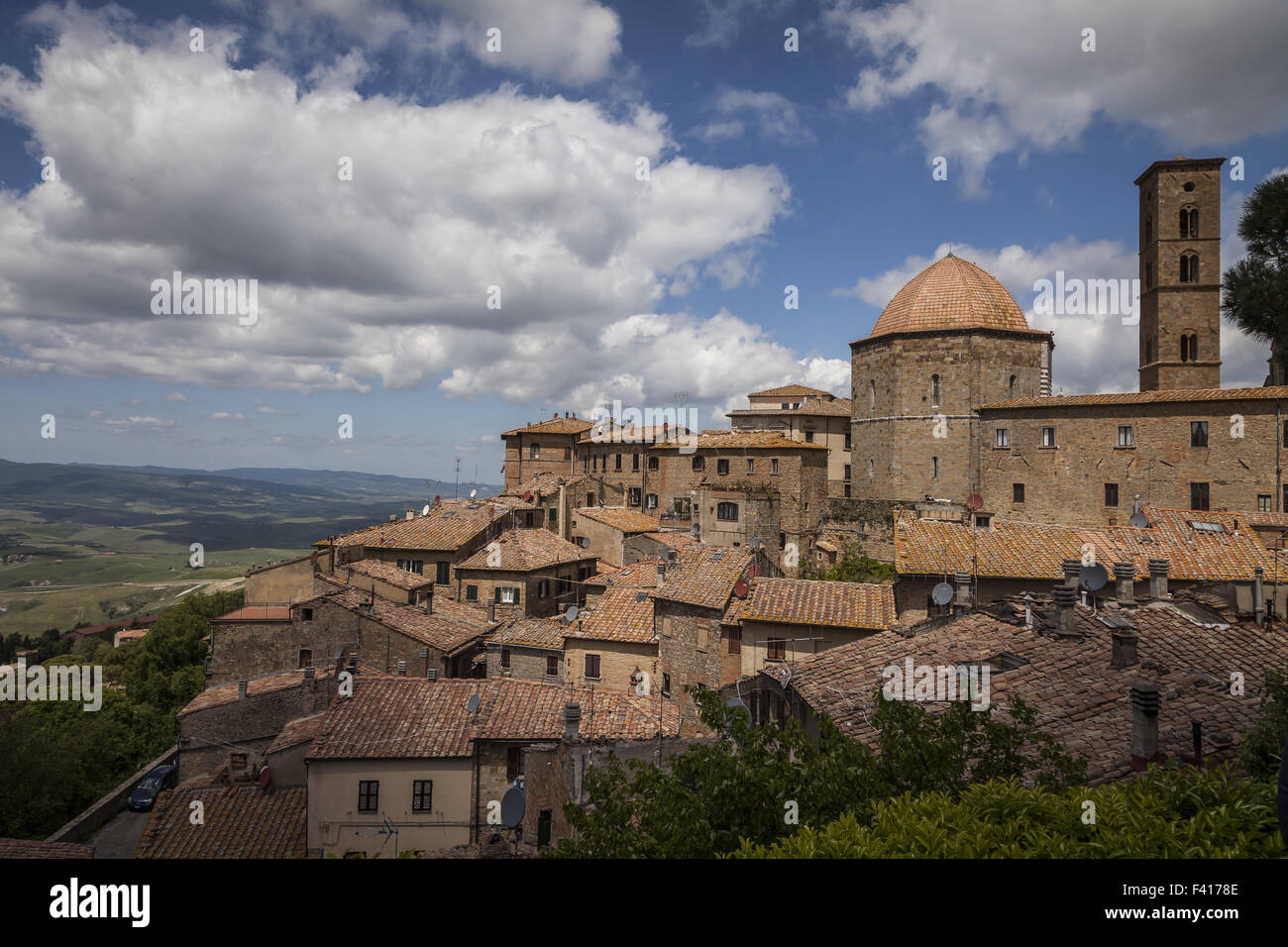 Volterra, Cathedral and tower, Tuscany, Italy - Stock Image