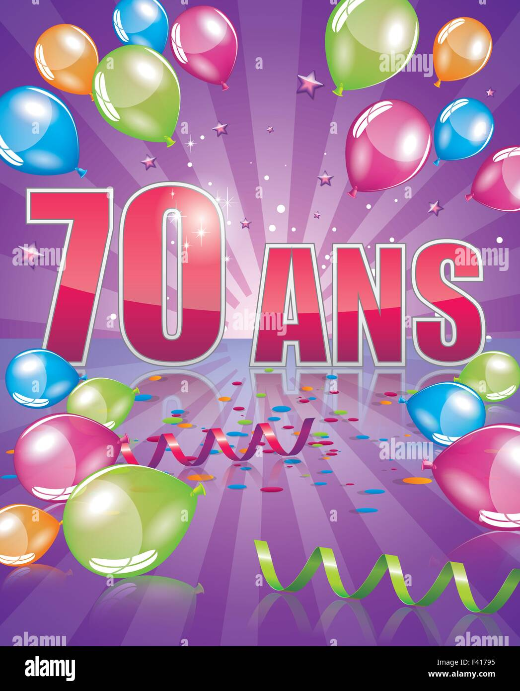 French Birthday Card 70 Years