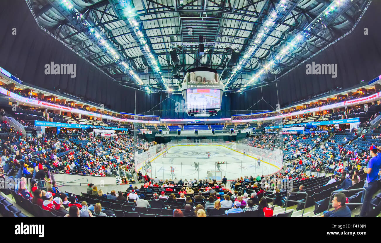 huge hockey arena during a game - Stock Image
