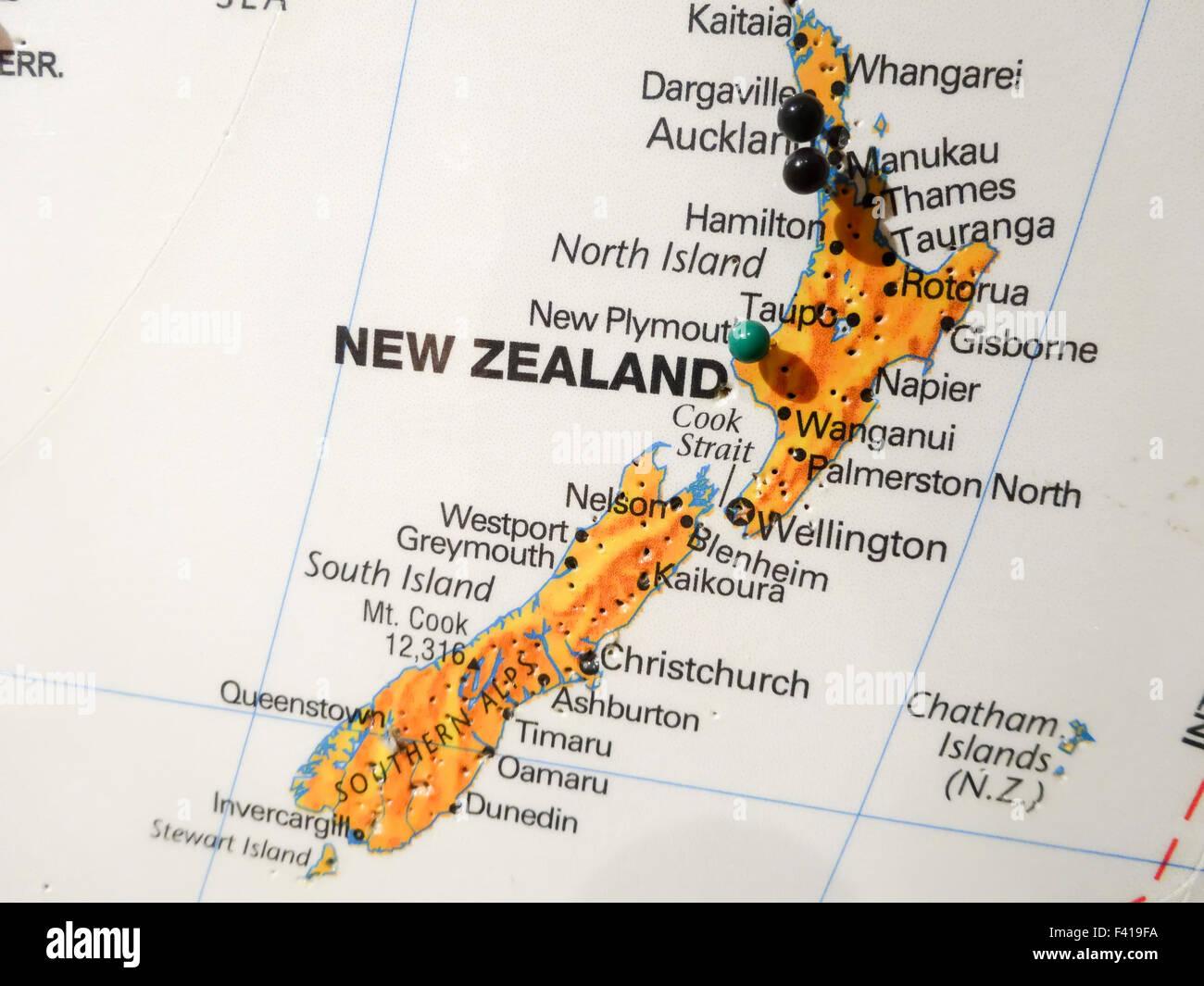 City Map Of New Zealand.City Pin On New Zealand Map Stock Photo 88539902 Alamy