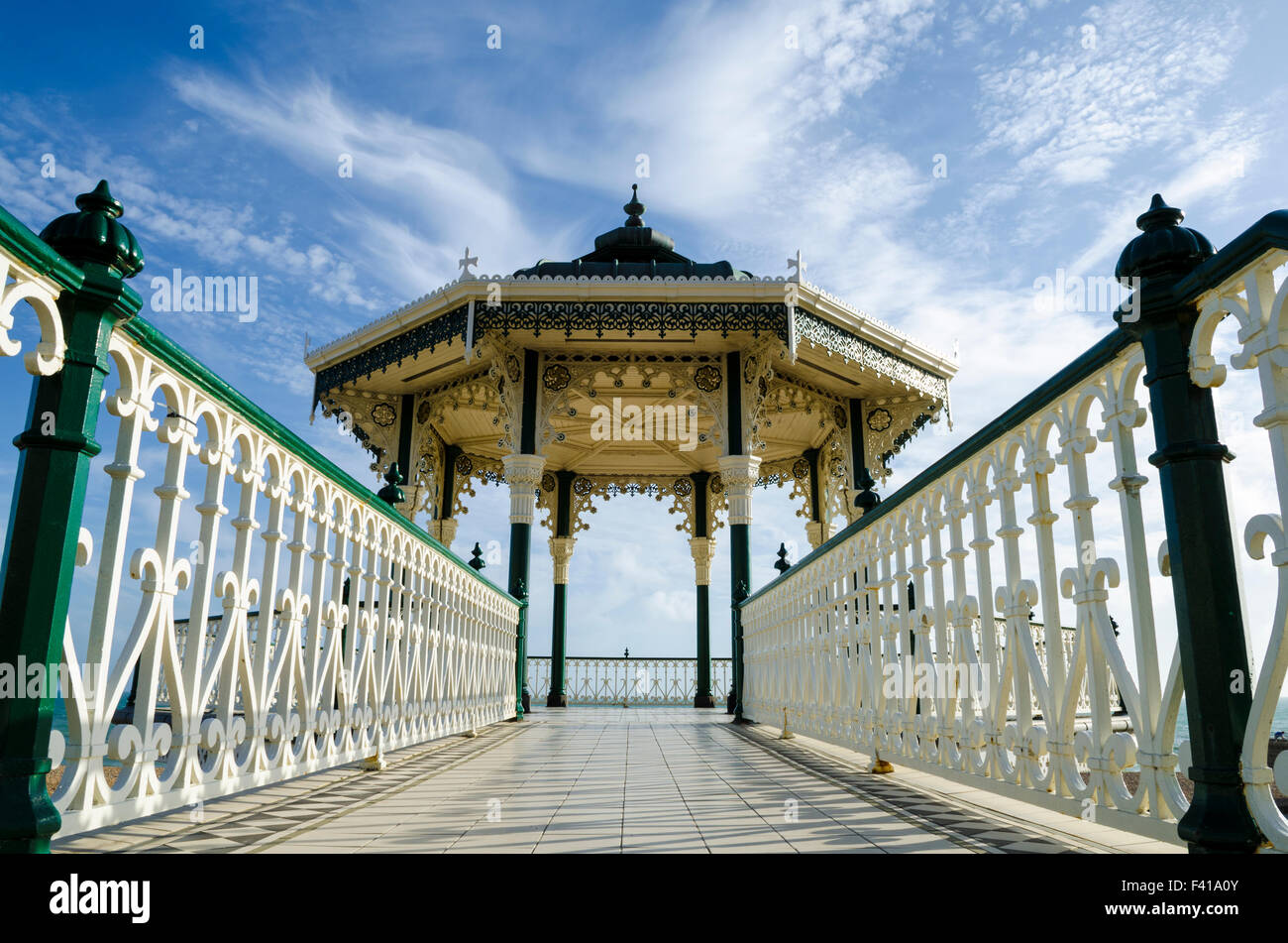 The Bandstand on the Brighton and Hove seafront in summer, East Sussex, England. - Stock Image