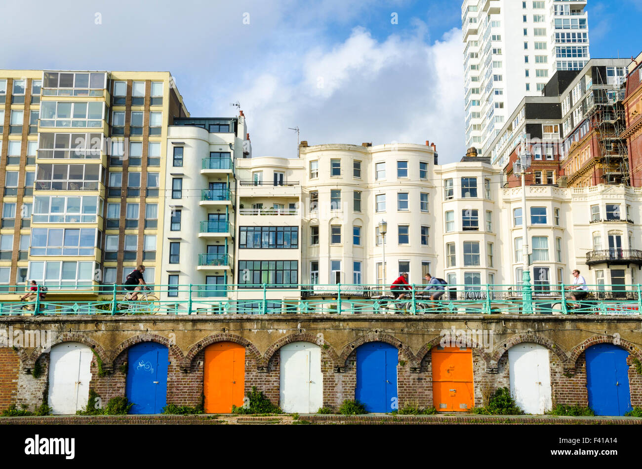 Kings Road arches along the esplanade at Brighton and Hove, East Sussex, England. Stock Photo