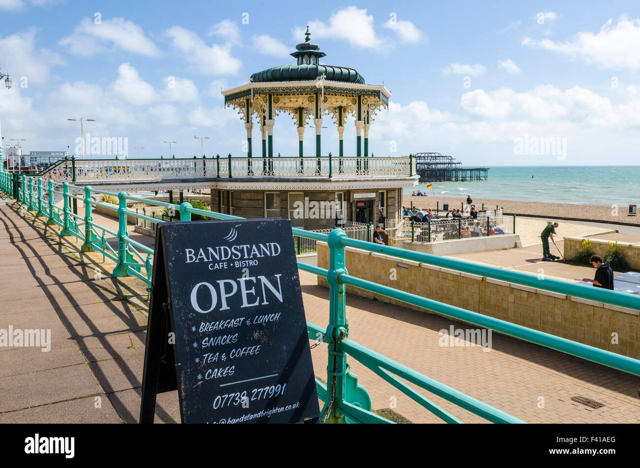 The Bandstand and cafe on the Brighton and Hove seafront in summer, East Sussex, England. - Stock Image