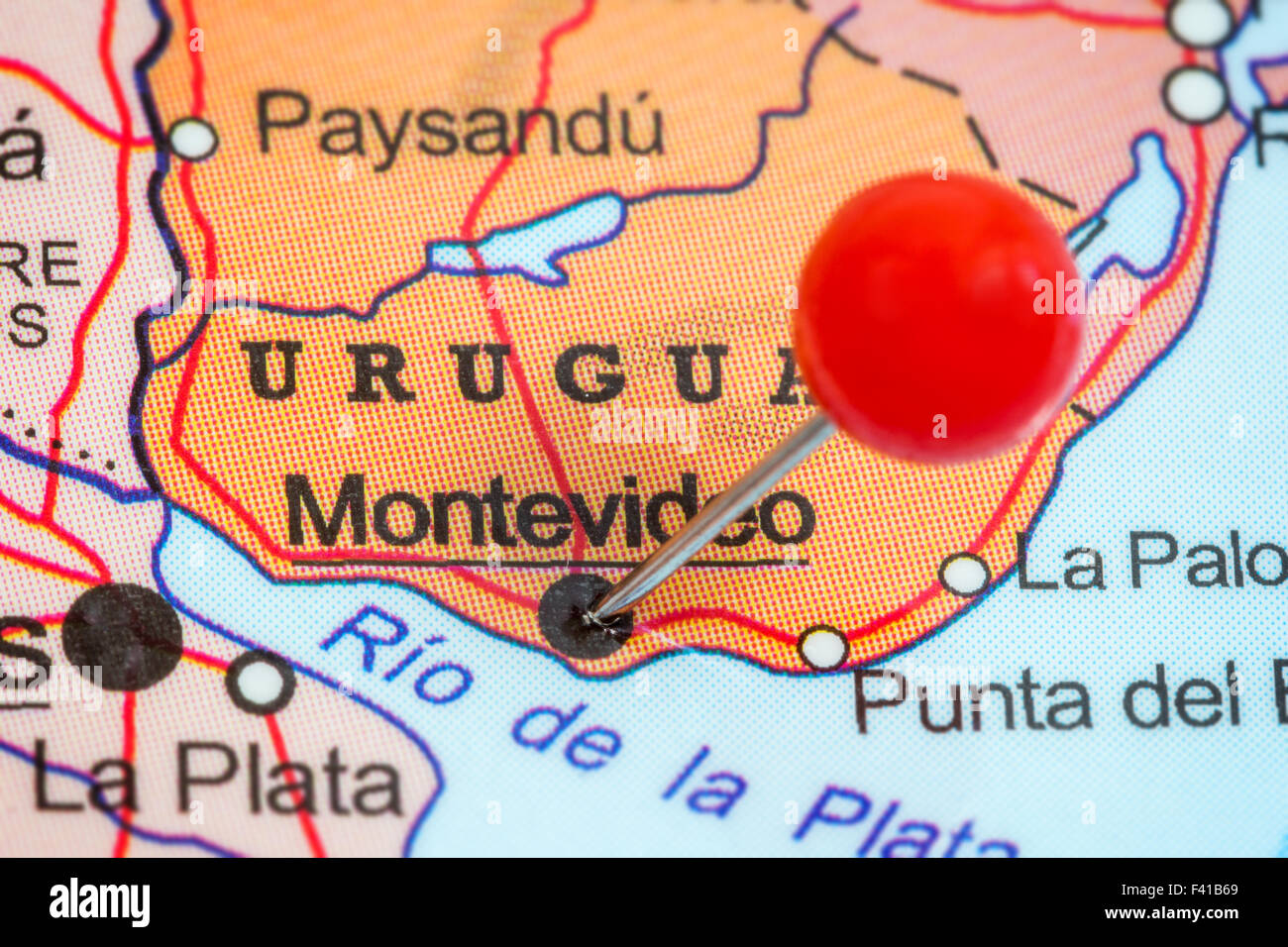 Image of: Close Up Of A Red Pushpin In A Map Of Montevideo Uruguay Stock Photo Alamy